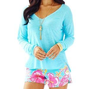 Lilly Pulitzer Taryn Linen V-Neck Sweater XS